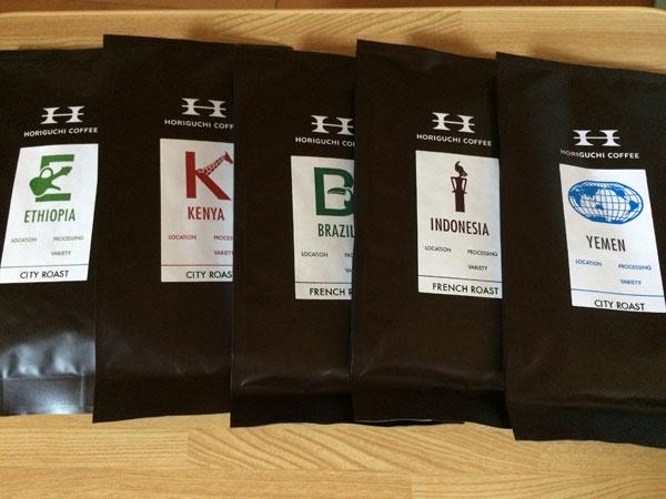 5つの産地によるコーヒー豆の違い